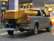 Snow Spreader in Vehicle